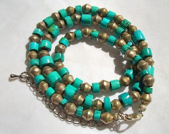 Turquoise and Silver Necklace With Lobster Clasp