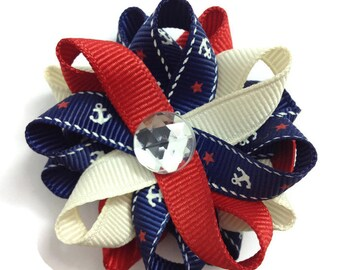 Ivory, Blue & Red Anchor Nautical Small Hair Bow Set - Handmade - Small 2.5 inch Loopy Hair Bow Set -  Anchor Hair Bow Set - Nautical Bows