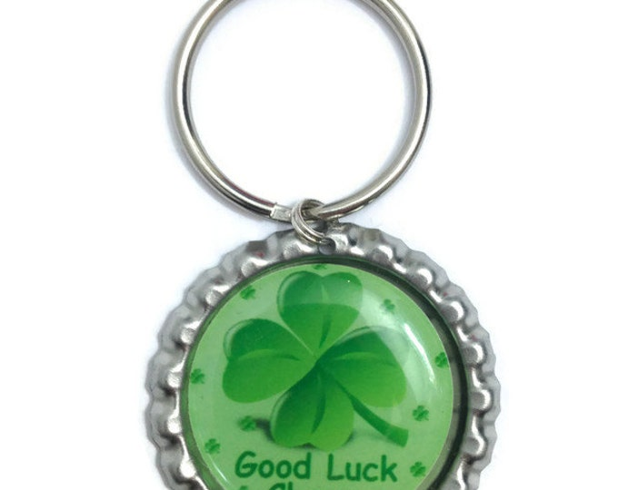 Clover, St. Patrick's Day Good Luck Charm Keychain, Keyring, Zipper Pull - Handmade To Order