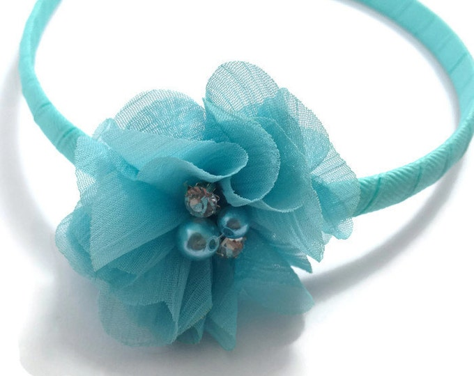 Aqua Chiffon Hair Flower Headband -Handmade To Order
