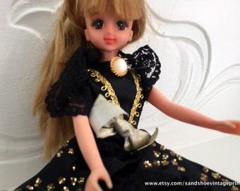 1990s TAKARA JeNny 18 Japanese Barbie in BLACK BALLGOWN