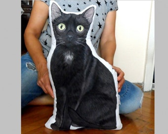 Custom Pet Portrait, Black Cat Pillow, Whole Body XL Pet Pillow, Personalized gift for pet lovers, dog pillow, cat pillow