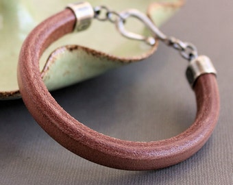 Men's Brown Leather Bracelet, Thick Leather Silver Bracelet