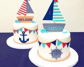 Fondant Boat Cake topper/set