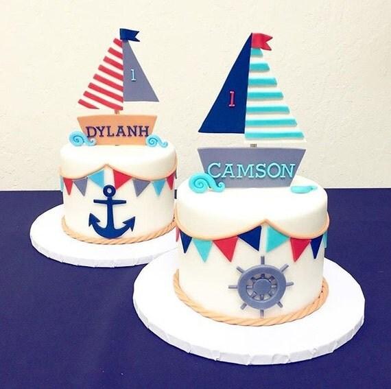 Fondant Boat Cake topper/set by CuteFondant on Etsy