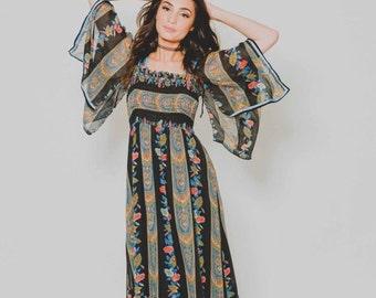 ON SALE 25% OFF Vtg 70s Dreamy Striped Floral Angel Sleeve Boho Hippie Coachella Woodstock Sheer Maxi Dress Xs