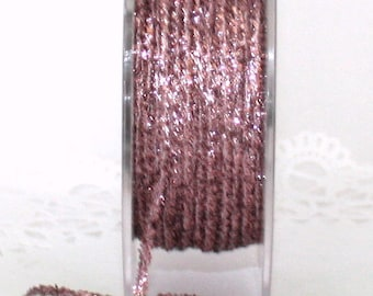 """Pink Glitter String, 2 yards, 1/8"""" wide, Christmas Ribbon, Gift Wrapping, Pink Glitter Trim, Glitter Ribbon, Weddings, Party Supplies"""