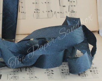 """Dusty Blue Dupioni Silk Ribbon, 3/4"""" wide by the yard, Blue Silk Ribbon, Weddings, Bouquets, Party Supplies, Gift Wrapping, Boutonierres"""