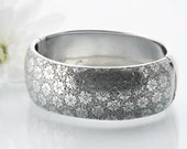 Victorian Bracelet | Antique Cuff Sterling Silver | Wide Hinged Silver Cuff Bracelet | Forget-Me-Not Flowers - Medium Size Victorian Cuff