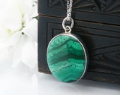 Victorian Locket | Malachite & Sterling Silver Antique Locket | Green Striped Stone | Oval Locket Glass Back - 20 Inch Sterling Silver Chain