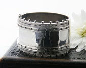 Antique Sterling Silver Bracelet   Silver Ball Edge Victorian Silver Cuff   Hinged Cuff Bracelet   Wide English Silver Cuff   1.5 Inch Wide