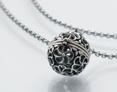 Vintage Locket | Silver Ball Locket | Sterling Silver Orb Locket & Chain Necklace | Silver Cage Locket Vinaigrette - 20 inch Chain Included