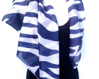 """Silk Scarf, Hand Painted Silk Scarf,  Animal Pattern, Zebra Stripes, Black White, 35"""" Square Silk Scarf, Gift For Her"""