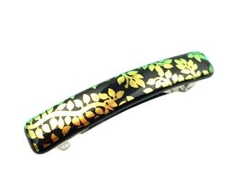 French Clip Hair Barrette, Metallic Gold Dichroic on Black, Leafy Vine Pattern