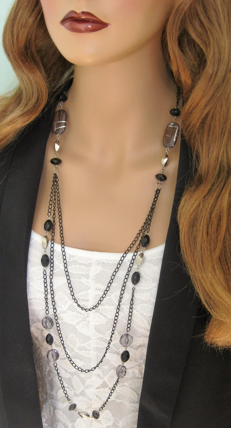 Long Black Beaded Necklace Multistrand Black by ...
