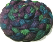 Hand dyed BFL & tussah silk roving - spinning felting wool - 4.8 oz Siren Song - hand painted combed wool top