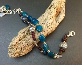 Blue Gemstone Bracelet, Bohemian Bracelet, Leather Bracelet, Apatite and Garnet Bracelet, Boho Chic Sundance Bracelet