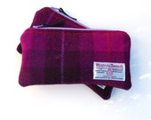 Fuchsia purple Harris Tweed Pencil Case Zippered Pouch