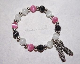 Pink, Black & White Ballerina Ballet Slippers Bracelet