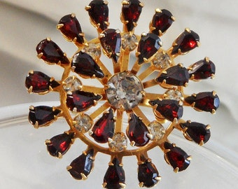 Vintage Garnet Red Rhinestone Brooch Pendant. Red Clear Rhinestones Snowflake Pin.