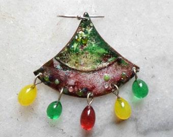 Handmade Jewelry, Enamel Earrings, Chandelier Lampwork Earrings, Unique Artisan Lampwork Valentine's Jewelry Gift Ideas for Her