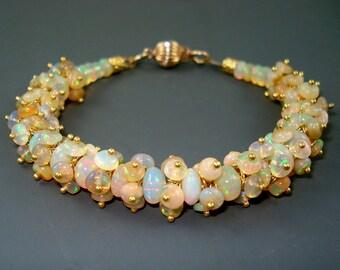 Ethiopian Fire Opal Bracelet, Opal Cluster Bracelet with Gold Fill, Extreme Fire, Fire Opal Bracelet, Fire Opal Jewelry