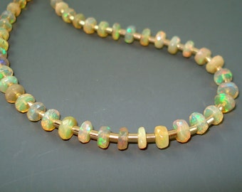 Opal Necklace, Ethiopian Fire Opal Faceted Rondelle Necklace, Small Opal Beads and Gold Fill Spacers and Chain, Opal Jewelry