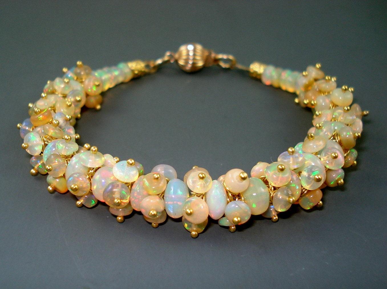 opal bracelet opal cluster bracelet with gold