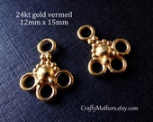 ONE PAIR Bali 24kt Gold Vermeil 3-loop Chandelier Findings, 12mm x 15mm (2 pieces), artisan-made jewelry supplies, precious metals