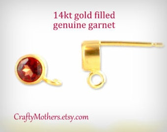 PREORDER, Red GARNET Genuine Gemstone and 14kt gold filled Post Earrings w/ backings (4mm) - 1 Pair (2 pieces)