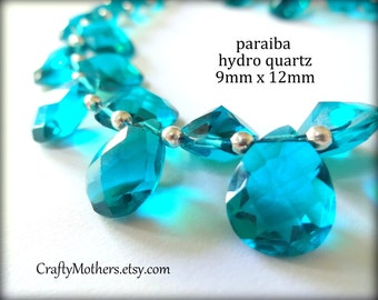 29% SALE! (Code: FROSTY) PARAIBA Teal Blue Hydro  Quartz Faceted Pear Cut Stone Briolettes, (1) Matched Pair, 9mm x 12mm
