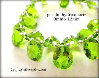 29% SALE! (Code: FROSTY) PERIDOT Green Quartz Faceted Pear Briolettes Trio - (1) Matched Pair plus (1) Focal, 9x12mm