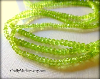 AAA Grass Green Peridot Gemstone Microfaceted Rondelles, 3.5mm - 1/4 Strand (3.5 inches long)