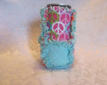 Peace Signs and Aqua Inspired 12oz Beer/Pop Can Cover/ Cozy / Cozie/ Can Holder/ Rag Quilted
