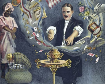 vintage art deco magician poster Brush the mystic illustration digital download