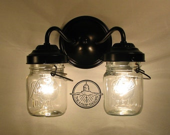 Vintage CLEAR Canning Jar DOUBLE Sconce Light - Wall Mount Mason Jar Bathroom Lighting Fixture Chandelier Track Fan Ceiling Farmhouse Goods