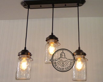 Mason Jar CHANDELIER Light Rectangular with Vintage Quart Trio