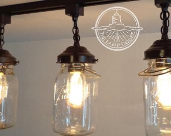 Mason Jar TRACK LIGHTING Single Vintage Quart - Chandelier Pendant Light Farmhouse Flush Mount Ceiling Fan Track Rustic Fixture by LampGoods