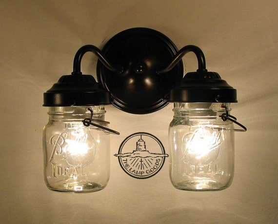 Wall Mounted Fruit Jar Lights : Vintage CLEAR Canning Jar DOUBLE Sconce Light Wall Mount