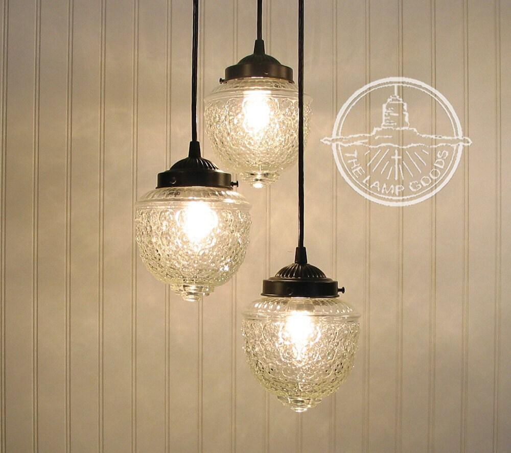 Island falls ii pendant chandelier light trio glass ceiling - Clear glass pendant lights for kitchen island ...