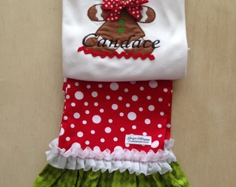 Christmas Holiday Seasonal Clothes Girls Baby Girls Gingerbread Ruffled Pant Set 3 mth to size 8