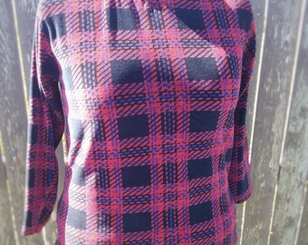 Dazzle Plaid Sequin Velour L/S Hoodie Pullover Size XL Plus Size Eco Friendly Upcycled