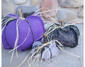 Burlap pumpkin, shabby chic, fabric pumpkins, fall, thanksgiving, pumpkin, purple, silver, black, haloween