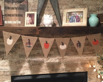 pennant banner, burlap bunting, burlap banner, fall decor, pumpkin banner, pumpkin decor, fabric pumpkin, farmhouse decor, farmhouse style,