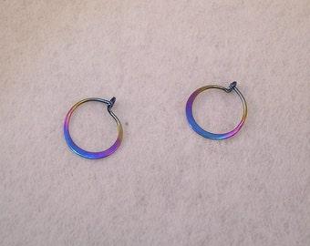 Tiny Sleeper Hoop earrings in Rainbow Niobium