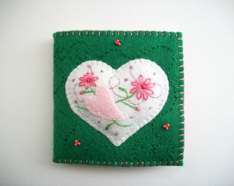 Needle Book Embroidered White Raised Felt Heart on Green Felt Cover Hand Embroidered Handsewn