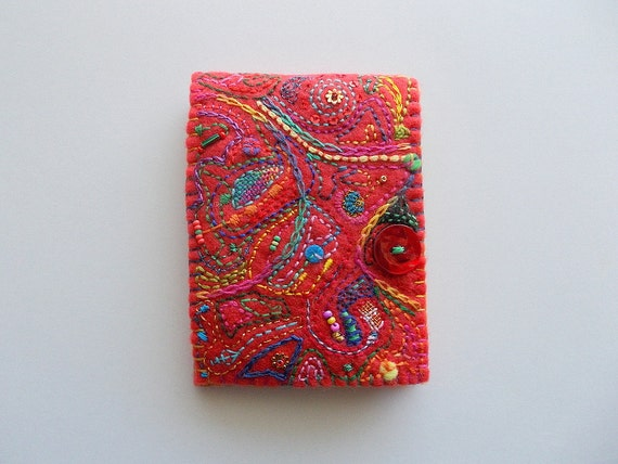 Needle Book Red Felt Needle Case With Abstract Embroidery And