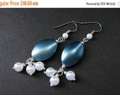 VALENTINE SALE Cadet Blue Earrings. Beaded Pearl Dangle Earrings - Blue Twilight. Handmade Earrings.