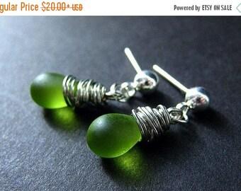 VALENTINE SALE Silver Wire Wrapped Earrings, Green Frosted Teardrop Earrings, Silver Stud Earrings. Handmade Jewelry by Gilliauna