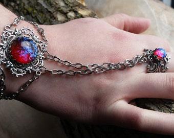 Fire Opal Bracelet, Slave Bracelet, Bracelet with Ring, Opal Bracelet, Opal Slave Bracelet, Fire Opal Bracelet, Birthday gift, March Gifts